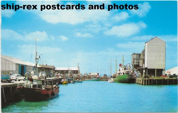 Whitstable harbour with fishing vessel CARDIUM, postcard